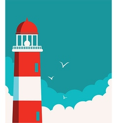 Lighthouse poster seascape background vector image vector image