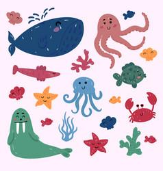 ocean or sea marine inhabitants underwater life vector image