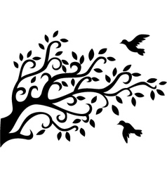 Tree silhouette with bird vector image vector image