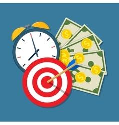Alarm clock calendar target money vector image