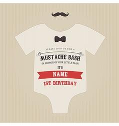 Funny vintage baby birthday invitation vector image