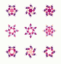 Ornamental mosaic logo template set symbols icons vector image