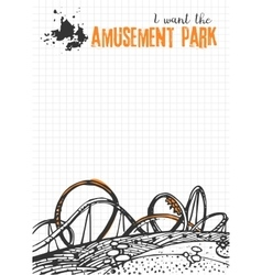 Roller Coaster on Checkered Background vector image