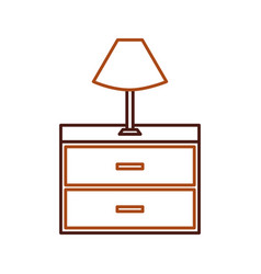 table lamp wooden drawers furniture for room vector image