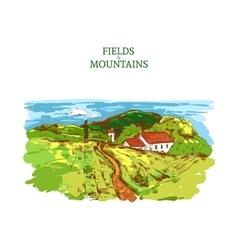 Colorful Farm Landscape Template vector image