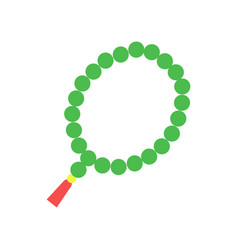 Colorful muslim rosary with green beads and red vector
