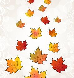 Flying autumn orange maple leaves vector image vector image