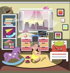 little girl in her bedroom vector image