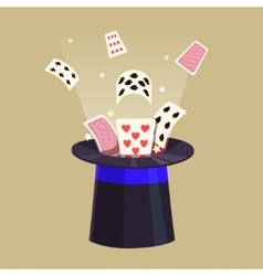 Magic trick Retro cards and a hat vector image