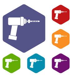 Medical drill icons set hexagon vector