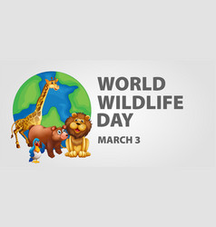 poster design for world wildlife day vector image