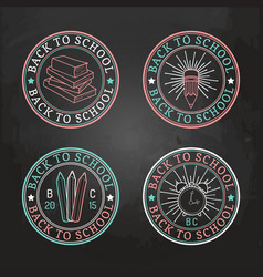 set of vintage back to school logos signs vector image