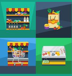 Supermarket 2x2 flat design concept vector