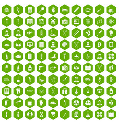 100 ambulance icons hexagon green vector