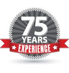 75 years experience retro label with red ribbon vector image