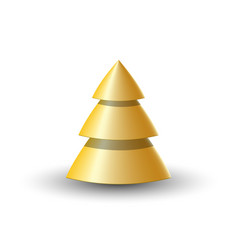 abstract golden 3d christmas tree isolate new vector image