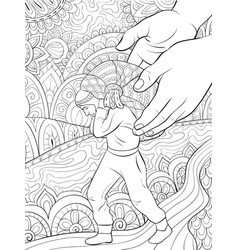 Adult coloring bookpage a man carrying a bagful vector
