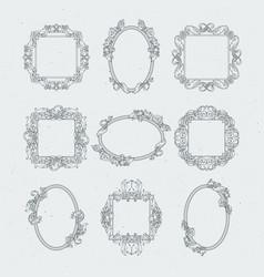 antique victorian picture frames set vector image