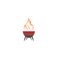 barbecue grills with fire for logo design vector image