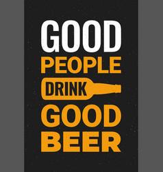 beer poster with beer bottle on black background vector image