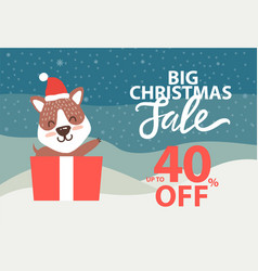 big christmas sale up to 40 off promo poster bear vector image