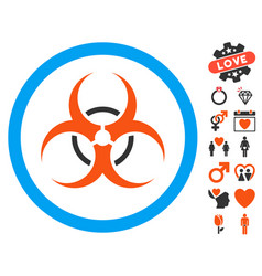 Bio hazard icon with valentine bonus vector