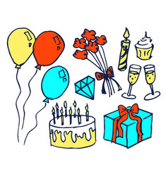 birthday set of hand drawn vector image