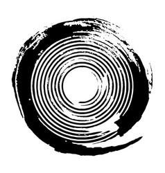 Black concentric grunge circle vector