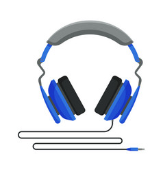 Blue wired headphones accessory for music vector