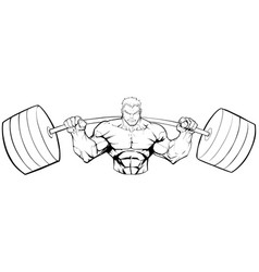 bodybuilder gym mascot grit line art vector image