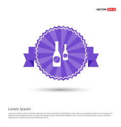 bottles icon - purple ribbon banner vector image