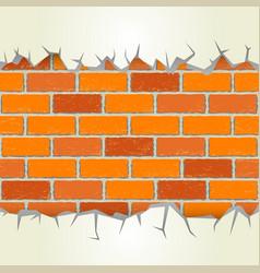 brick wall plaster cracks vector image