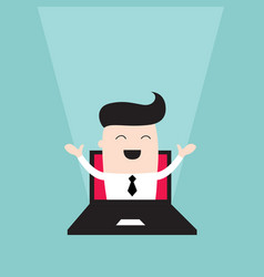 businessman jumping out of laptop monitor vector image