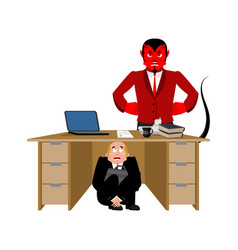 businessman scared under table of satan vector image