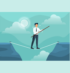 Businessman walks on a tightrope with a stick vector