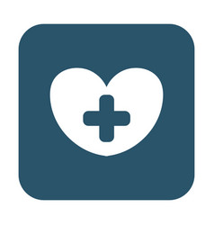 Button of heart with a cross icon vector