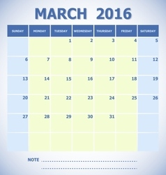 Calendar March 2016 week starts Sunday vector image
