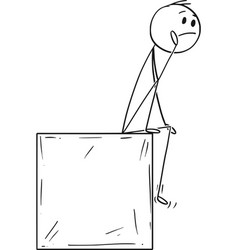 Cartoon of man or businessman sitting on box and vector