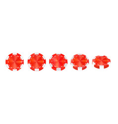 casino red chips isolated on white realistic vector image