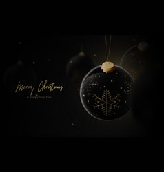 christmas background black and gold luxury vector image