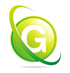 Circle globe round letter g green abstract vector