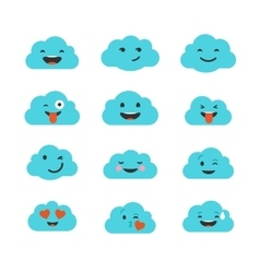 Clouds cute emoji smily emoticons faces set vector