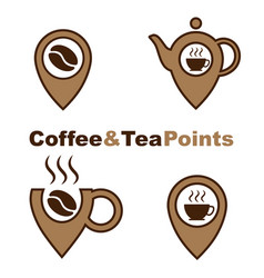 coffee and tea point logos set isolated on white vector image