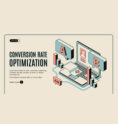 conversion rate optimization isometric web banner vector image