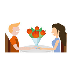 couple romantic sitting with flowers image vector image