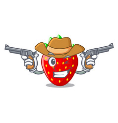Cowboy character strawberry sweet in store fruit vector