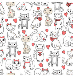 cute cats seamless funny pets doodle pattern vector image