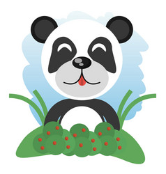 Cute panda animal winking vector