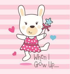 cute rabbit dancing vector image