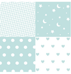 Cute set of baby boy seamless patterns with fabric vector